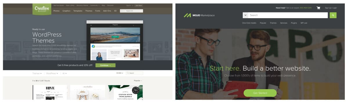Find WordPress themes on Creative Market and Mojo Marketplace