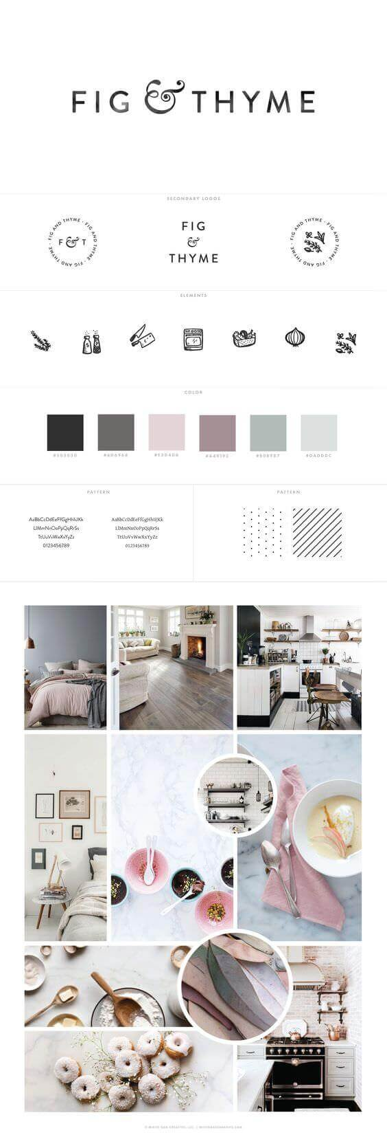 Brand board for Fig & Thyme blog by White Oak Creative